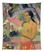 Woman With Mango Tapestry