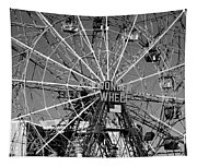 Wonder Wheel Of Coney Island In Black And White Tapestry