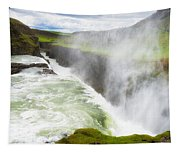 Wonderful Waterfall Gullfoss In South Iceland Tapestry