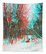 Wooded Path - Use Red And Cyan Filtered 3d Glasses Tapestry