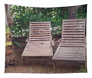 Wooden Beach Chairs Tapestry