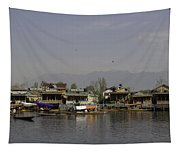 Wooden Boats Shikaras And Houseboats In The Dal Lake In Srinagar Tapestry