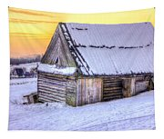 Wooden Hut In Sunset Tapestry