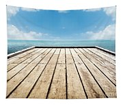Wooden Surface Sky Background Tapestry