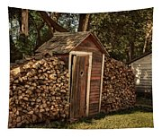 Woodpile And Shed Tapestry