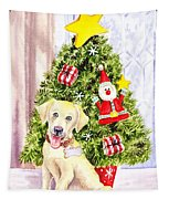 Woof Merry Christmas Tapestry