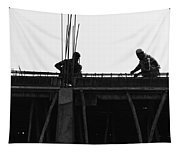 Workers Preparing Iron Girders As Part Of Laying The Roof Tapestry