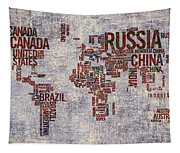 World Map Typography Artwork Tapestry
