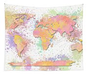 World Map 2 Digital Watercolor Painting Tapestry