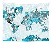 World Map Blue Collage Tapestry