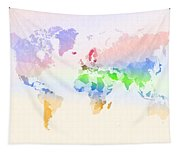 World Map Crumpled Multi-coloured Tapestry