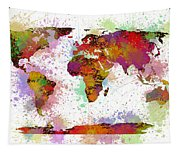 World Map Digital Watercolor Painting Tapestry