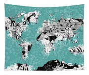 World Map Drawing Collage 2 Tapestry