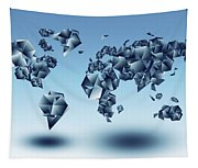 World Map In Geometic Light Blue  Tapestry