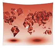 World Map In Geometic Red Tapestry