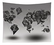 World Map In Geometric Fractal Tapestry