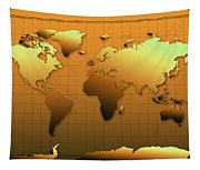 World Map In Gold Tapestry