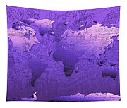 World Map In Purple Tapestry