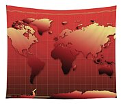 World Map In Red Tapestry