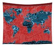 World Map Landmark Collage 11 Tapestry