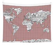 World Map Landmark Collage 2 Tapestry