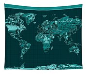 World Map Landmark Collage 4 Tapestry