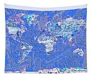 World Map Landmark Collage 8 Tapestry