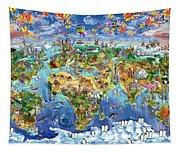 World Map Of World Wonders Tapestry