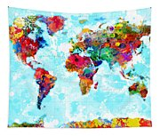 World Map Spattered Paint Tapestry