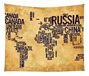 World Map Typography 6 Watercolor Painting Tapestry
