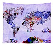 World Map Watercolor 2 Tapestry