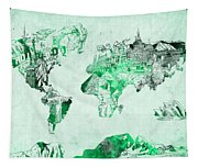 World Map Watercolor 4 Tapestry