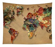 World Map Watercolor Painting 1 Tapestry