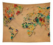 World Map Watercolor Painting 2 Tapestry