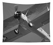 Stearman Trainer Bi Plane Black And White Tapestry