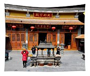 Worshipers In Urn Courtyard Of Chinese Temple Shanghai China Tapestry