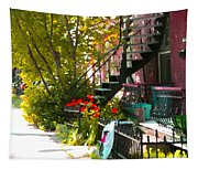 Wrought Iron Fence Balcony And Staircases Verdun Stairs Summer Scenes Carole Spandau  Tapestry