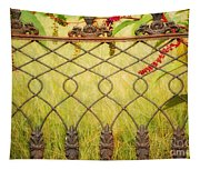 Wrought Iron With Red And Green Tapestry