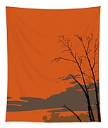 Abstract Tropical Birds Sunset Large Pop Art Nouveau Landscape 3 - Left Side Tapestry