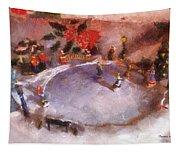 Xmas Skating Rink Photo Art Tapestry