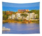 Yacht On The Water Tapestry