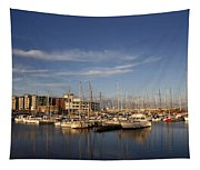 Yachts In A Marina At Sunset Tapestry