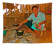 Yao Mien Tribe Man In His Home With His Cooking Pot North Of Chiang Rai In Mae Salong-thailand  Tapestry