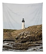 Yaquina Head Lighthouse From The Beach Tapestry