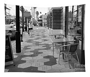 Ybor City Sidewalk - Black And White Tapestry