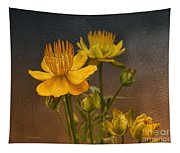 Yellow Aged Floral Tapestry