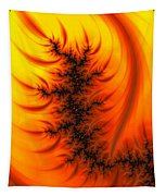 Yellow And Orange Fractal Fire Tapestry
