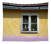 Yellow And Pink Facade. Belgrade. Serbia Tapestry