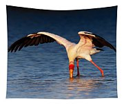 Yellow-billed Stork Hunting For Food Tapestry