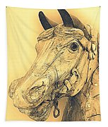 Yellow Carousel Horse Tapestry
